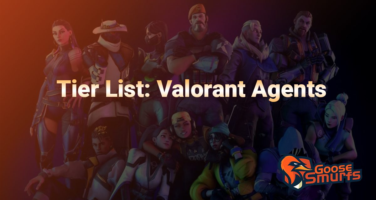 Valorant agent tier list on a gradient background