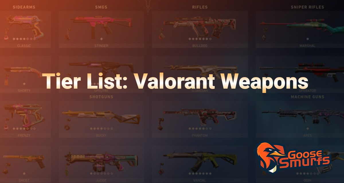 Valorant weapon tier list on a gradient background