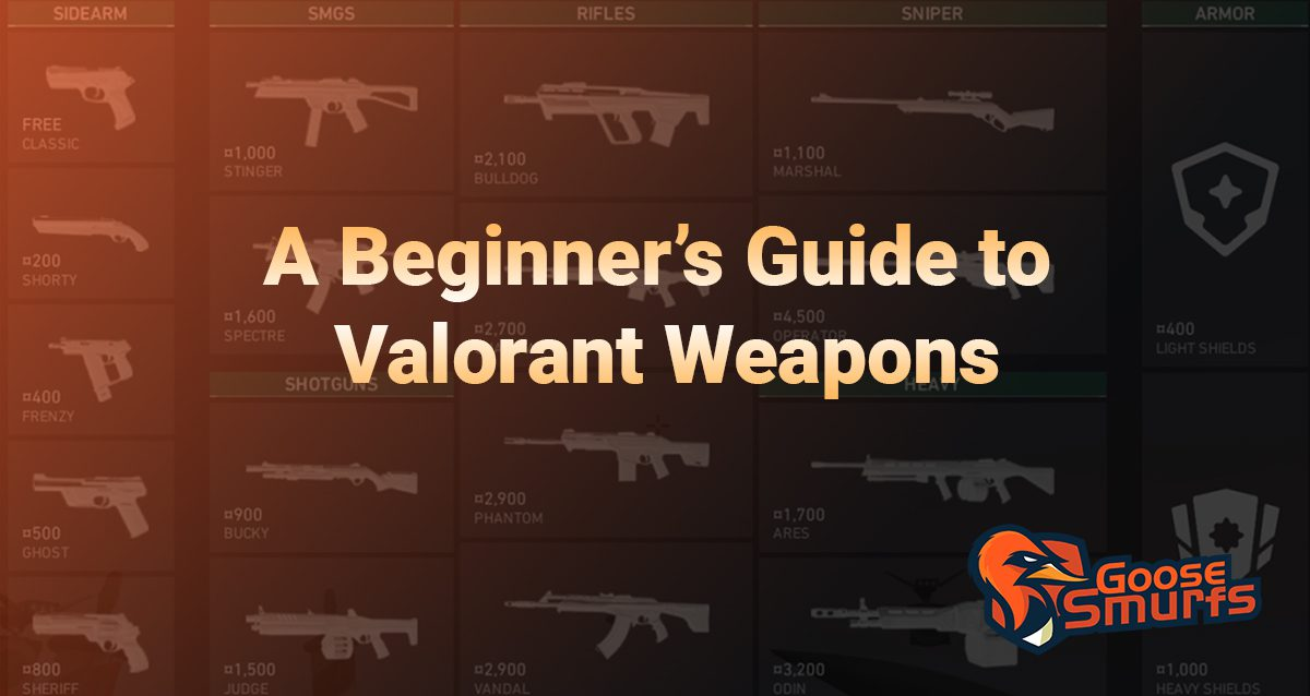 Beginner's guide to valorant weapons on a gradient background
