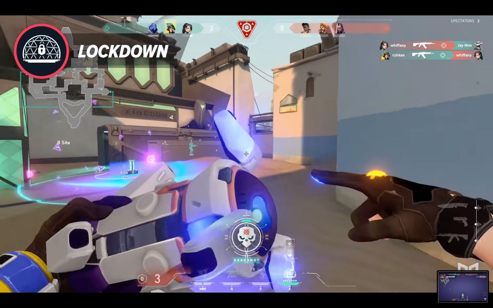 Killjoy placing her Lockdown Ultimate ability to allow her to safely defuse the bomb