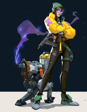 Killjoy posing with her Turret on a black and white background