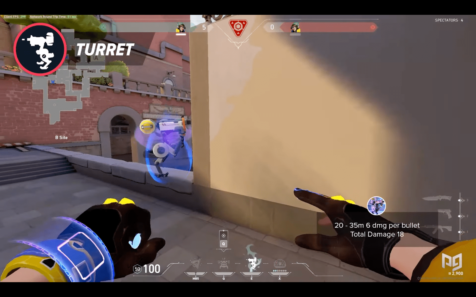 Killjoy placing her turret to protect B site on Ascent