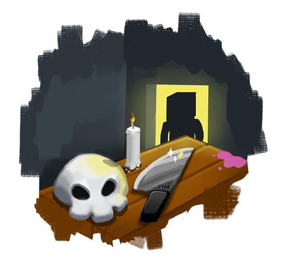Minecraft skull and knife on a table representing Murder Mystery