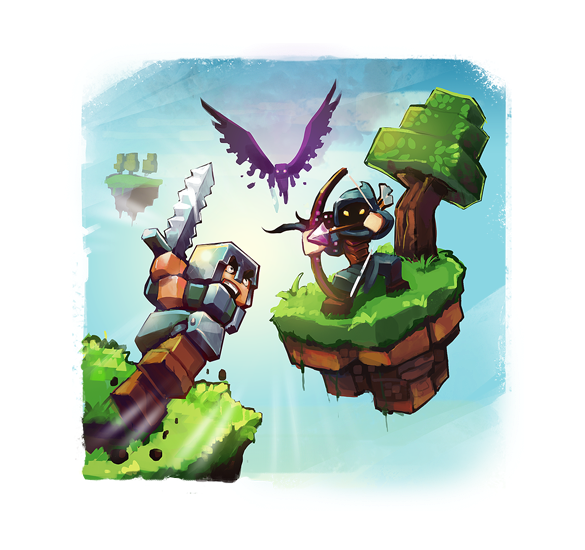 Two minecraft players in battle on two skywar islands with a light background