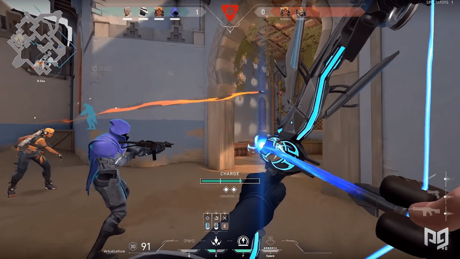 Sova firing his Shock Dart at enemies that are approaching from Long B on Bind